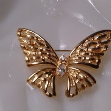 Gold/Rhinestone Butterfly Pin: (Apologies. I had this posted twice in my store. Deborah.)