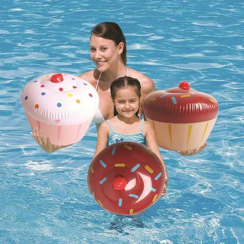 60*50cm Cake Swimming Ring Pool Float Inflatable Donuts Ice Cream Water Raft Toys Children Birthday Gift Summer Party Decoration