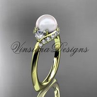 14kt yellow gold unique diamond Three stone pearl engagement ring VP8225