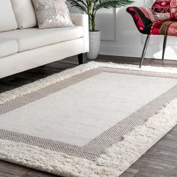 nuLOOM Hand Woven Flatweave Shaggy Border Beige Rug (5' x 8') | Overstock.com Shopping - The Best Deals on 5x8 - 6x9 Rugs