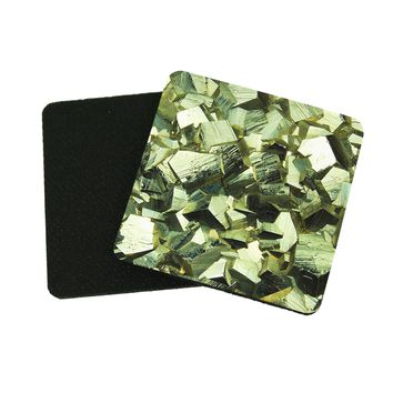 "3.5"" x 3.5"" Mineral Pyrite Fools Gold Coasters Made From Recycled Rubber"