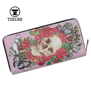 Long Zipper Wallet for Women With Phone PU Cartoon Skull Head Clutch Purses Credit Cards Holder Ladies Women Wallets