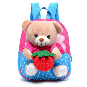 New Kids School Bags Cartoon Bear Dolls Canvas Backpack Baby Girls Boys Book Bag Toddler Kindergarten Rucksacks PT1180
