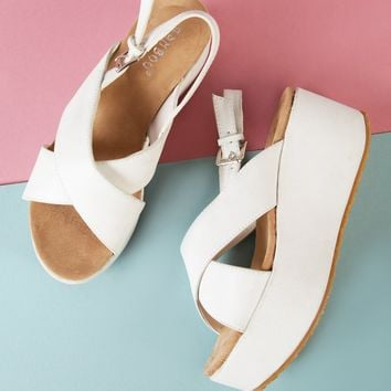 Crinkled Sling Back Wedge Sandal