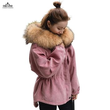 2017 New Women Winter Coat Corduroy Outerwear Big Fur Collar Cashmere Liner Cotton Jackets Female Fashionable Down Parka OK84T