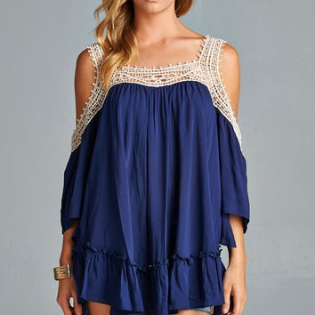 Navy Cold Shoulder Top with Crochet Trim Detail