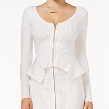 GUESS Ayanna Asymmetrical Zip-Front Sweater | macys.com