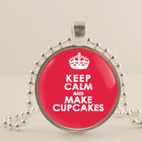 """Keep calm and make cupcakes, 1"""" glass and metal Pendant necklace Jewelry."""