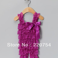 hot sale cute plum petti lace romper with ruffle and strape for baby girl