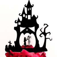 Haunted House Jack and Sally Cake Topper