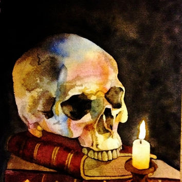 Halloween Decor. Watercolor Skull. Halloween wall art. Halloween picture. Skull artwork. Skull painting. Skeleton decor. Skeleton artwork.
