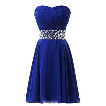 Fashion Plaza Chiffon Strapless Rheinstones Evening Cocktail Crystal Dress D0123 (US10, Blue)