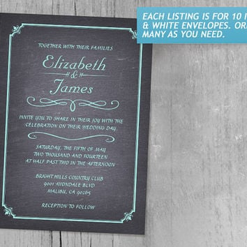 Aqua Chalkboard Wedding Invitations | Invites | Invitation Cards