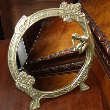 Vintage Art Nouveau Brass Vanity Mirror, Nude Woman Looking at Her Reflection