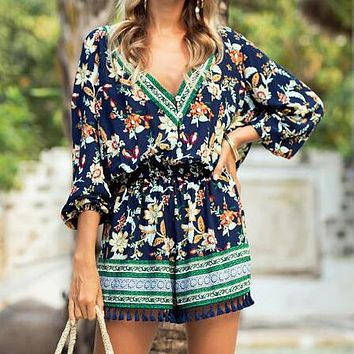 Hot Sale Women Retro Print V Collar Casual Long Sleeve Tassel Rompers Navy Blue