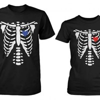 Skeleton X-Ray Hearts Matching T-Shirts for Couples - Halloween Horror Shirts