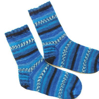 Wool socks, boho socks, women socks,  knit socks, boot sock, athletic socks, blue, black socks, gift idea, charity socks, cozy