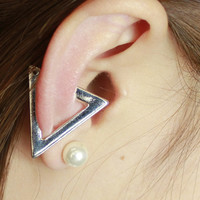 Silver Triangle Single Earring