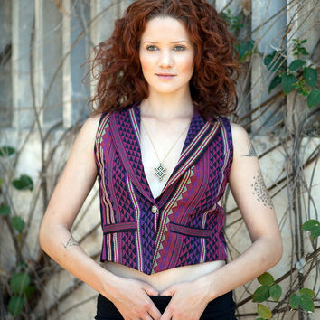 SALE Bohemian Ethnic Vest, Embroidered Aztec Vest, Small Waistcoat