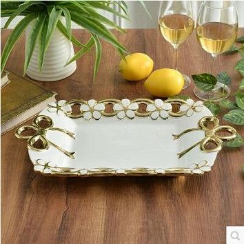 European food container luxury ceramic fruit plate dishes and plates sets dinner plates  fruit tray SG052