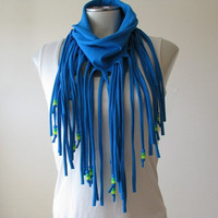 Turquoise T-shirt Fringe Scarf, Jersey Infinity Scarf with beads