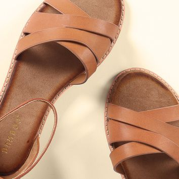 Bamboo Strappy Open Toe Flat Sandal