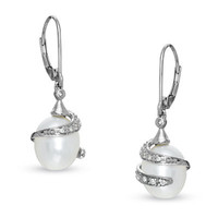 Cultured Freshwater Pearl Wrap Drop Earrings in 10K White Gold with Diamond Accents - View All Earrings - Zales