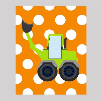 Excavator on Orange Polka Dots Print Construction Decor Baby Print CUSTOMIZE YOUR COLORS 8x10 Prints Nursery Decor Baby Room Decor Kids
