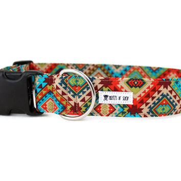 Dog Collar, Boy Dog Collar, Girl Collar, Aztec Dog Collar, Tribal Dog Collar, Southwestern Collar (Upgrade to Metal Buckle or Martingale)