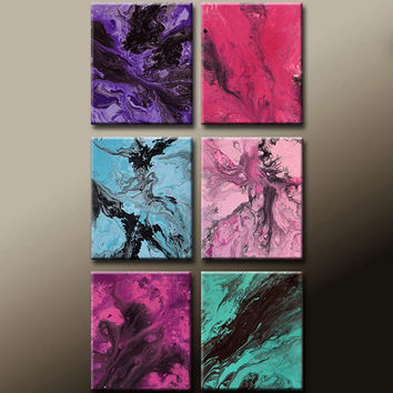 6pc Abstract Art Painting Canvas Original Modern Contemporary Paintings by Destiny Womack - dWo - Far Beyond the Clouds