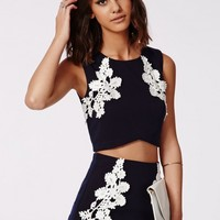 Missguided - Lora Lace Applique Crop Top Navy