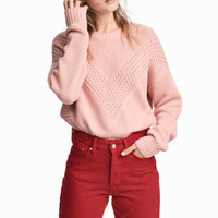 Textured-knit jumper - Light pink - Ladies | H&M GB