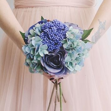 "Artificial Hydrangea and Rose Bouquet in Blue - 14"" Tall"