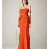 Coral Strapless Peplum Long Gown