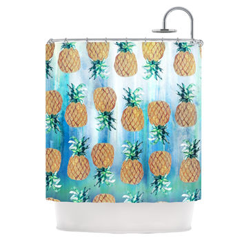 "Nikki Strange ""Pineapple Beach"" Blue Brown Shower Curtain"