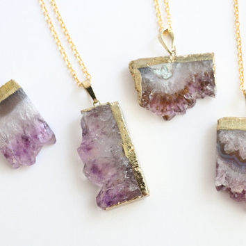 Druzy Gold Amethyst Slice Crystal Necklace - Natural Raw Chunky Stone Gemstone Semi Precious Purple Pendant Dipped Coated Piece