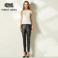 Leather Pants Pure Color Fashion Party Club Pu Pencil Trousers With Pockets Regular Female Feet Pants