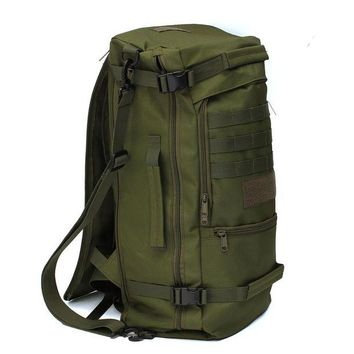 ONETOW 50L Canvas Outdoor sports Military Tactical Rucksack travel Camping Hiking Backpack climbing bag double shoulder Bag