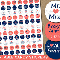 Personalized Wedding Party Favors - Printable Candy Stickers Chocolate Favors - Coral Navy Bridal Candy Buffet - DIY Candy Labels