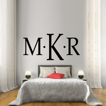 Monogram first, last, and middle initial wall decal