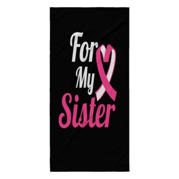 Breast Cancer Beach Towel - For My Sister (Black)