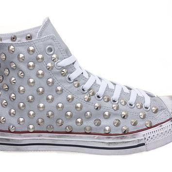 Studded Converse, Converse Silver High Top with Silver Cone Rivet Studs by CUSTOMDUO o