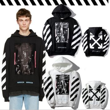 Pink striped velvet hooded sweater men and women fashion hoodie jacket