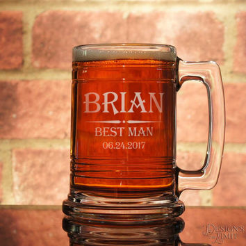 Groomsman Personalized Beer Mug with Engraved Wedding Party Design Options & Font Selection OPTIONAL Mini Mug Shot Glass Engraved w/ Initial