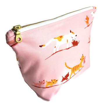 Cat Makeup Bag, Pink Cosmetic Bag, Small makeup bag, Cat Zipper Bag, Travel Pouch
