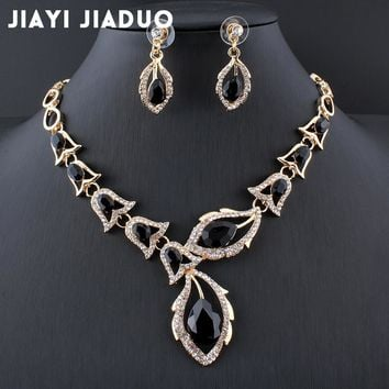 jiayijiaduo African beads jewellery set Black Crystal Wedding Necklace Set womens clothing accessories bridal jewelry sets 2017