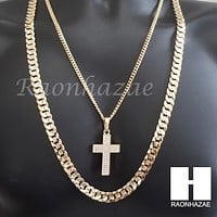 "MEN ICED OUT CROSS CUBAN CHAIN DIAMOND CUT 30"" CUBAN LINK CHAIN NECKLACE S065"