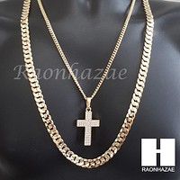 "MEN CROSS CUBAN CHAIN DIAMOND CUT 30"" CUBAN LINK CHAIN NECKLACE S065"