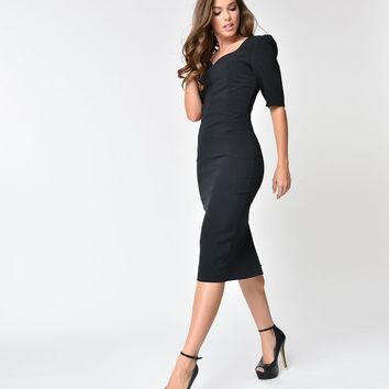 The Pretty Dress Company Black Sleeved Charlotte Pencil Dres