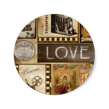 Vintage Yesterday Love Woman Cinema Chocolate Classic Round Sticker